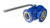 Three-way ball valve - 2 seats, KM 93 - Three-way ball valves