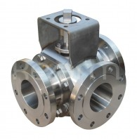 Three-way ball valve with stuffing box - 2 seats, KM 93-SB - Three-way ball valves